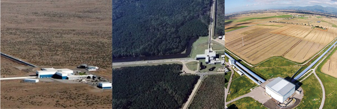 Advanced LIGO Hanford, Advancer LIGO Livingstone y Advanced Virgo cerca de Pisa